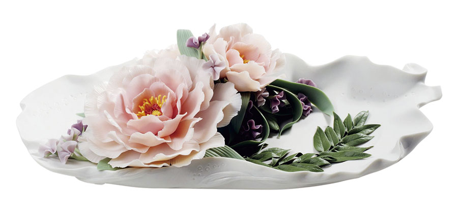 Lladró Tray With Peonies, $1,940 The exquisite detail of peonies allows conversation to bloom around the dining room table at your holiday gathering for friends and family. At Atkinson's, 604 736 3378 atkinsonsofvancouver.com