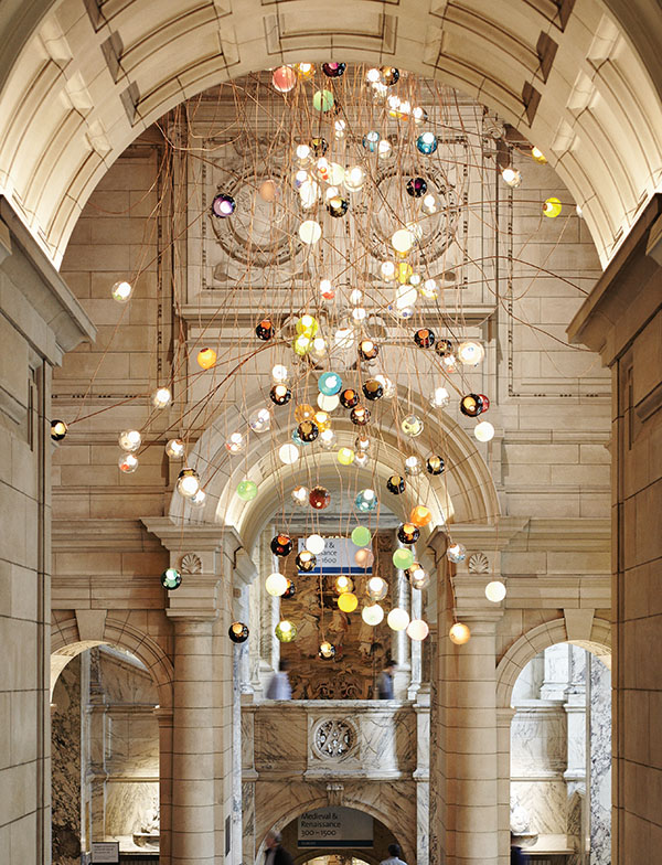 At the Victoria and Albert Museum in London, Arbel's installation suspends 280 multicolour glass pendant lamps.