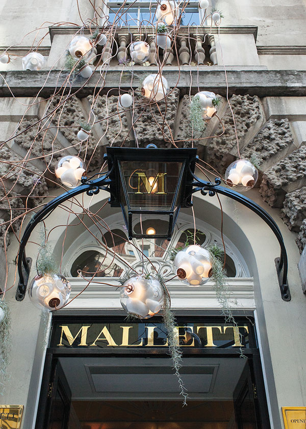 Lighting from Bocci's Collection 38, installed in front of Mallett Antiques in London for the London Design Festival, Fall 2014.