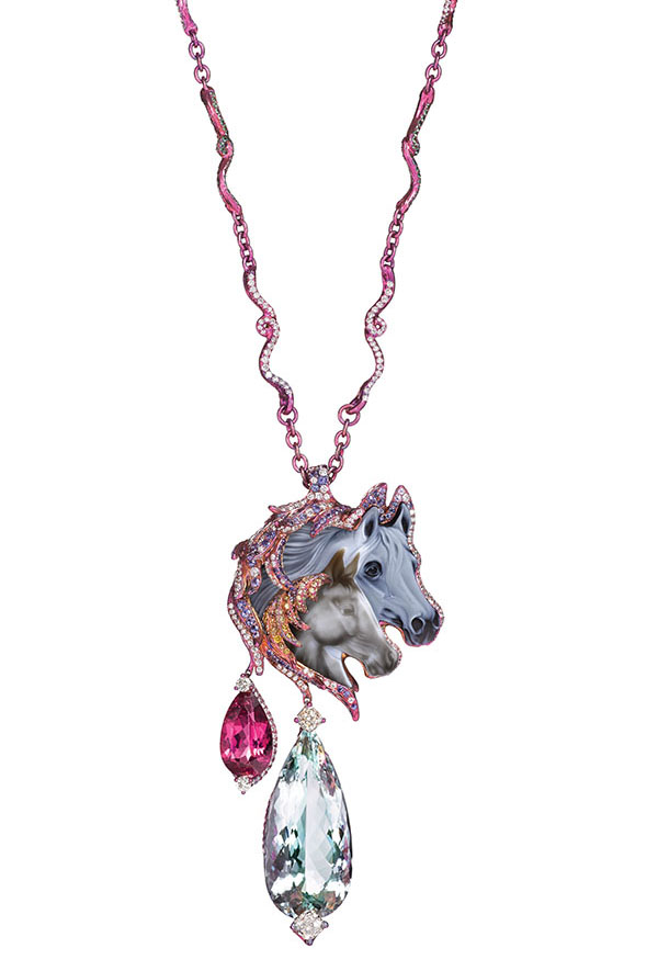 Hushaby necklace featuring a 35.15ct agate, a 32.95ct aquamarine, pink tourmalines, yellow and white diamonds, sapphires, tsavorites and garnets.