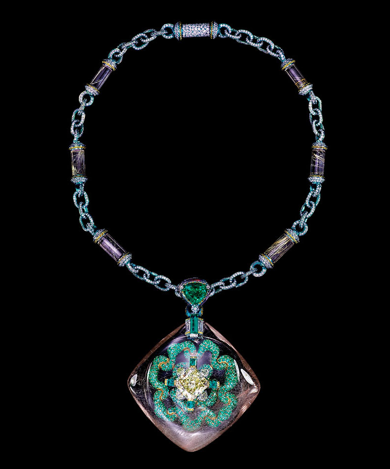 Secret Abyss necklace featuring a 10.05ct yellow diamond, a 211.74ct rutilated quartz, emeralds, fancy coloured diamonds, amethysts and rutilated quartz.