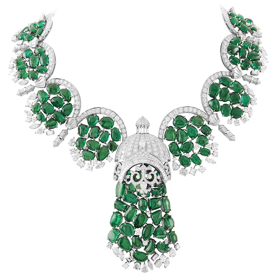 Arcata Necklace from the Bals de Légende High Jewelry Collection, Van Cleef & Arpels 18K white gold, marquise-cut and princess-cut diamonds, emerald pebbles. www.vancleefarpels.com