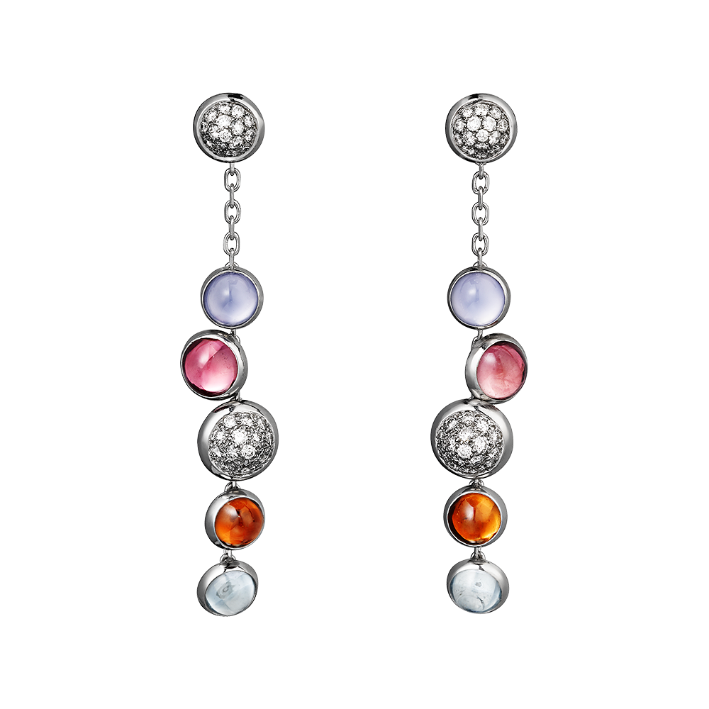 Earrings and Ring from the Paris Nouvelle Vague Collection, Cartier  18K white gold, diamonds, pink tourmalines, blue chalcedonies, aquamarines, garnets. www.cartier.com