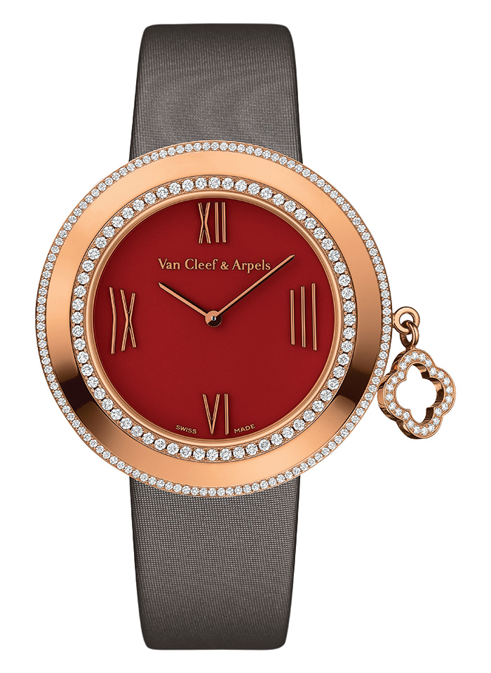 Charms Watch, Van Cleef & Arpels Carnelian dial timepiece with 18K rose gold case and two rows of diamonds, rotating diamond-paved charm. 38mm, Swiss Quartz movement.  www.vancleefarpels.com