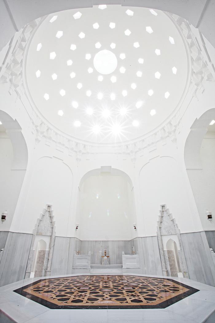 "Feel like royalty inside the all-white marble ""hot room"" of the AyaSofya hammam."