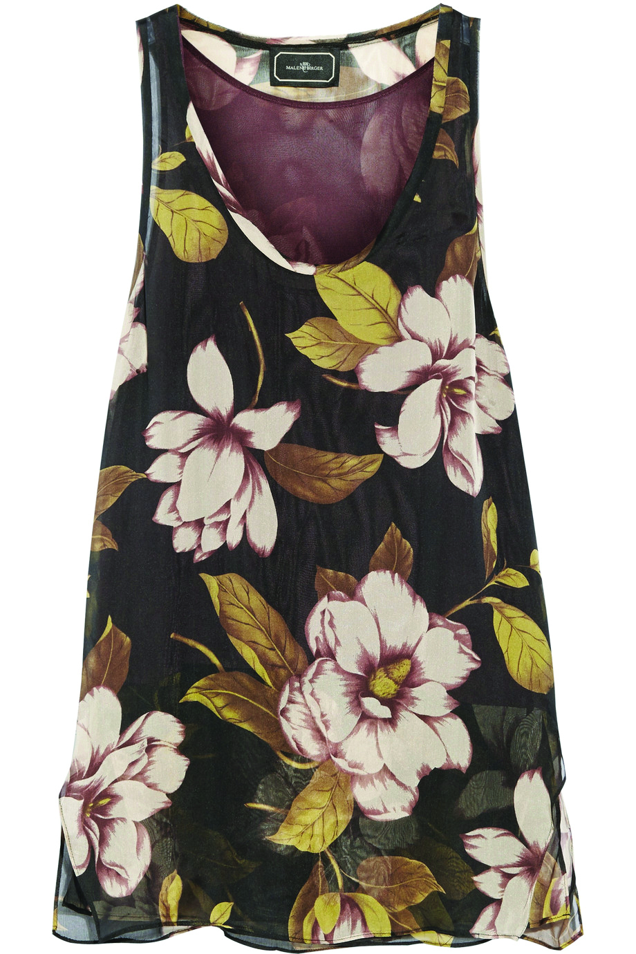 Malene Birger Floral-Print Silk Top. USD$268 Inspired by vintage floral patterns, this boho print pops on a black ground. Wear this hothouse tank with a structured black suit or leather leggings. At Net-a-Porter
