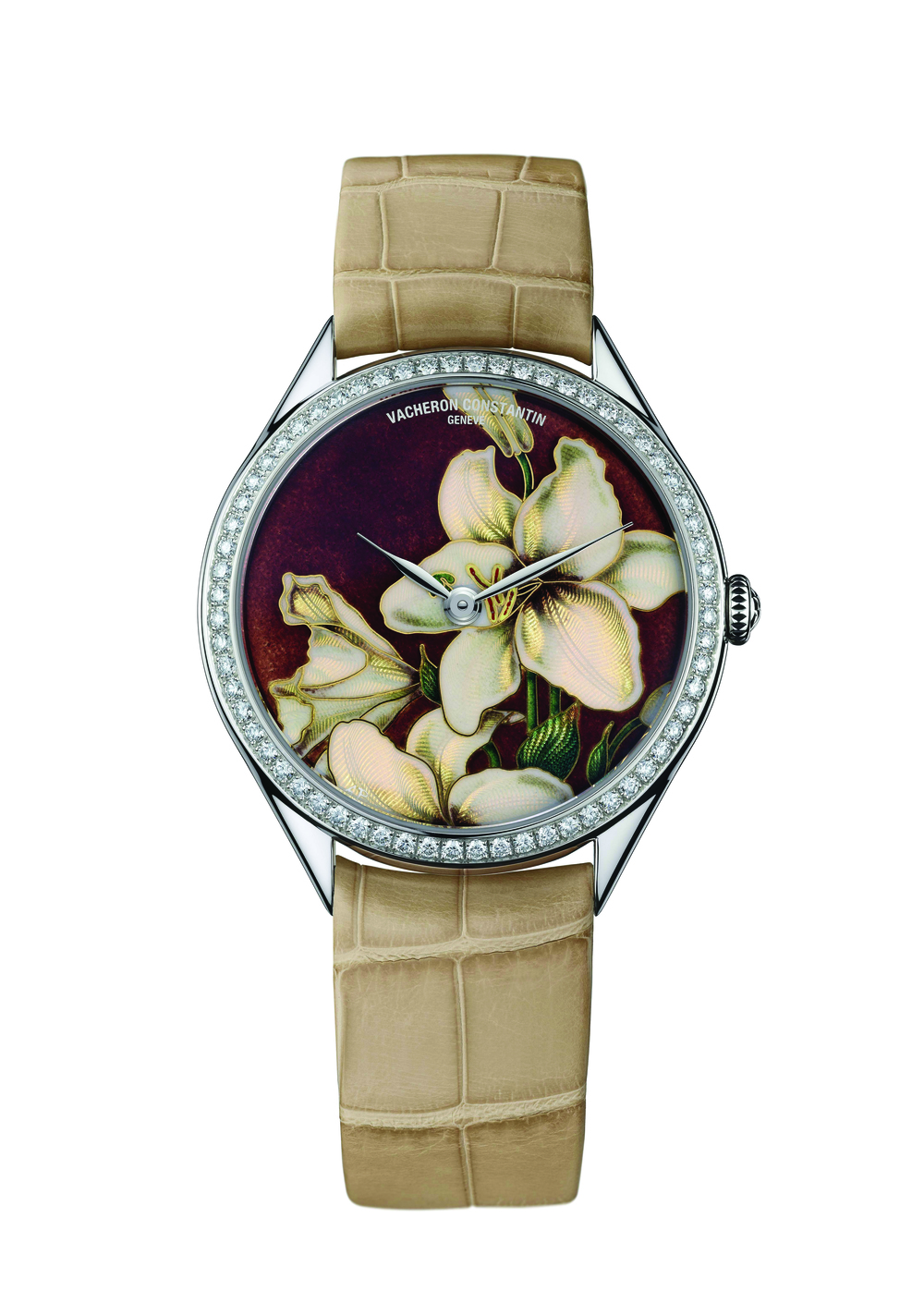 Vacheron Constantin Métiers d'Art Florilège White Lily Watch. $134,400 A distinctive white lily makes this watch a showstopper. A crocodile band and baguette cut diamonds add to the overall allure. At Palladio Boutiques