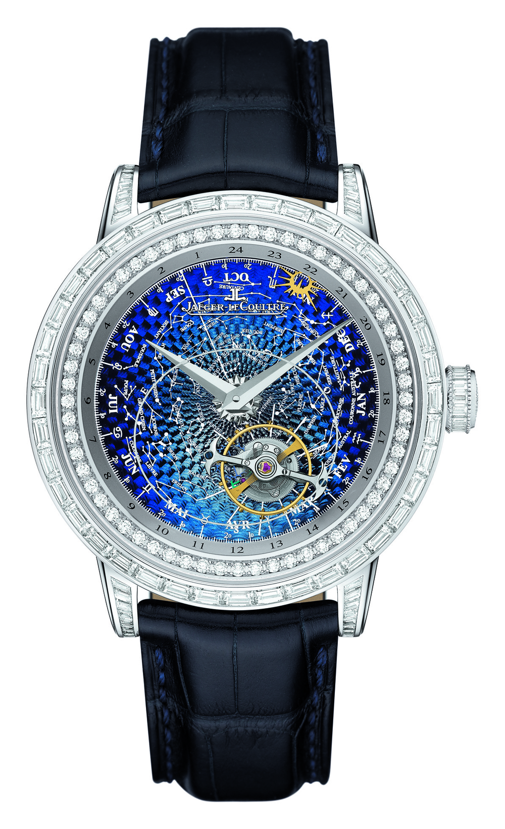Jaeger Lecoultre Master Grande Tradition Tourbillon Céleste Watch Own a piece of the night sky. Every 24 hours, the sun completes one revolution around the diamond rim, passing by the signs of the zodiac. Price Upon Request At Jaeger-lecoultre.com