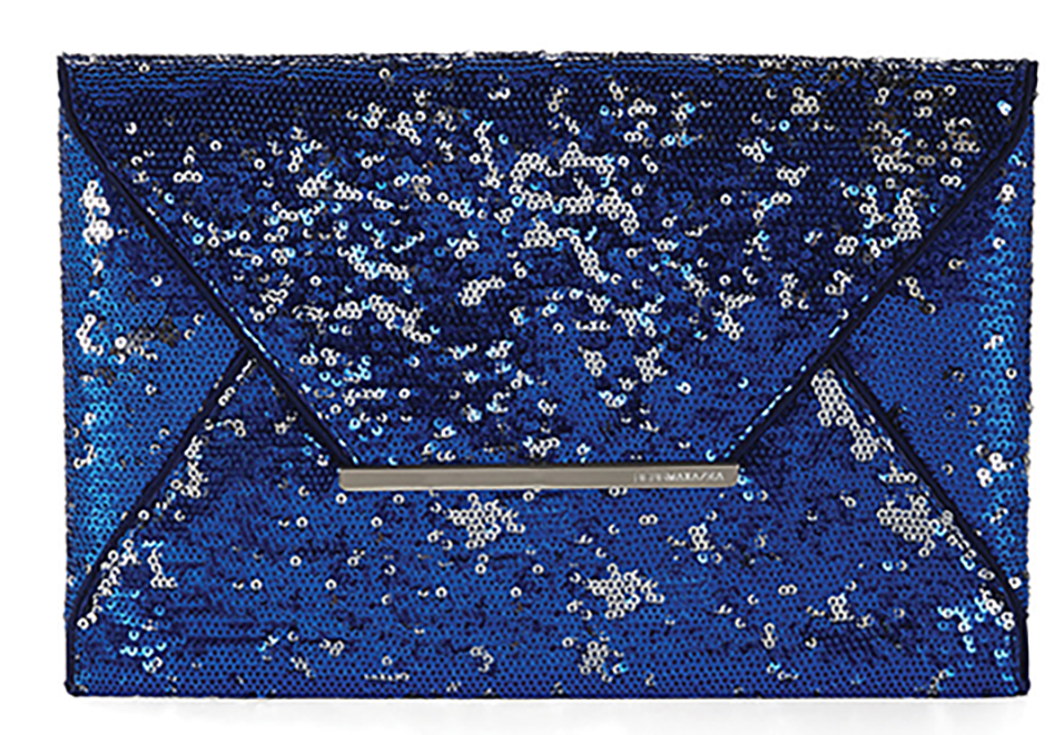 BCBG Harlow Sequin Envelope Clutch $113 Amp up a holiday look with a sparkling fantasy envelope clutch. A bold metal logo plate closure is a sharp counterpoint to the shimmery medley of sequins. At BCBG boutiques