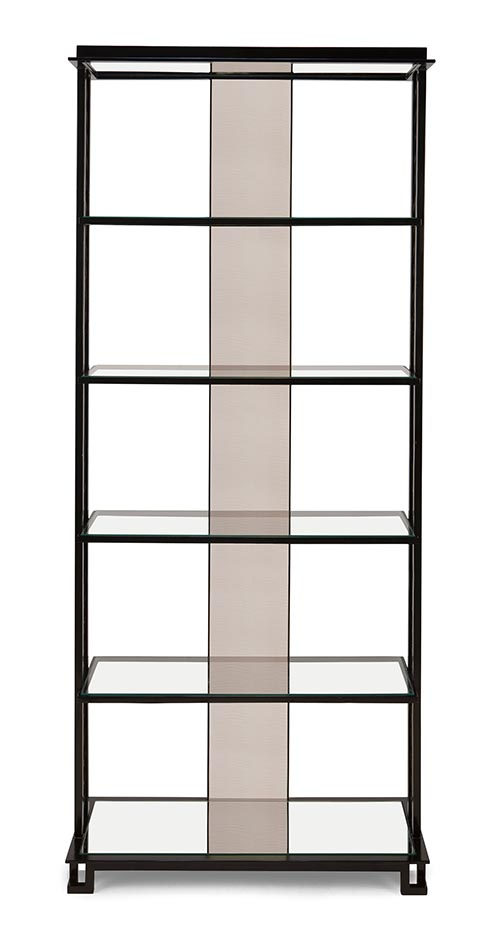 Christopher Guy Sacré-Coeur Shelving Cabinet, $7,989 Hand-wrought metal shelving cabinet stands for uncluttered refinement. The feather pattern and mirror strip optimize the effect of your objets d'art collection. At Jordans Interiors, 604 733 1174 jordans.ca
