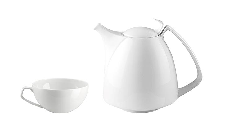 Rosenthal Tac 02 Coffee Pot  50 Ounce, $246. Tea Cup, Low, 8 Ounce, $41 Stark white porcelain tea set, with its unexpected pot handle and lid knob, is steeped in charm and edginess. At Atkinson's, 604 736 3378 atkinsonsofvancouver.com