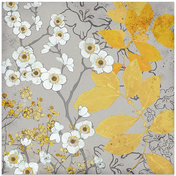 3.Bed Bath & Beyond Fabrice De Villenueve White Blossoms Wall Art, $99.99 A burst of Japanese-inspired white blossoms with autumn gold leaves flourish on grey background, making their serene presence felt in your living space. At Bed Bath & Beyond, 604 904 1118 bedbathandbeyond.ca
