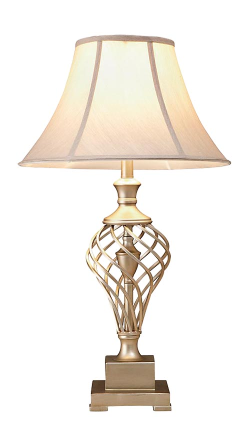 Bassett Furniture Daphne Table Lamp Price Upon Request This lamp adds warmth and romance to a room. Its soft curves and spiral lines against a square base accentuate elegance. At Jordan's Casual Home, 604 248 2180     casualhome.ca