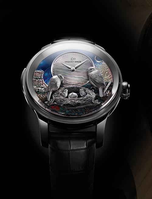 Jaquet Droz The Bird Repeater A still-delightful though simpler creation from the Jaquet-Droz family, a hand-winding single barrel watch. Hand engraved, featuring hand painted birds and black mother-of-pearl subdial. 48 hour power reserve. 47 mm. jaquet-droz.com, at Lugaro Jewellers, 604 925 2043