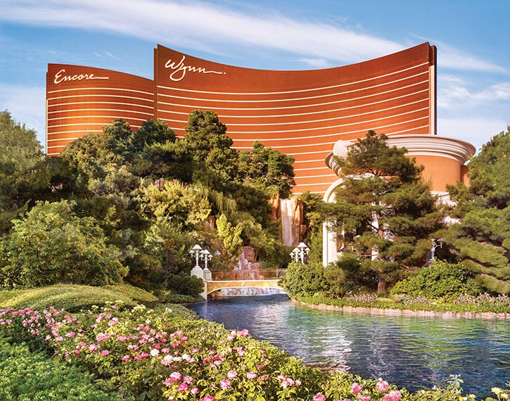 The Wynn's European pool and oasis-like facade.
