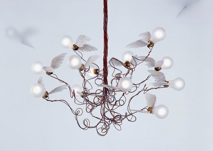 Birdie chandelier with detailing made of goose-feather wings and, to the right, Johnny B.