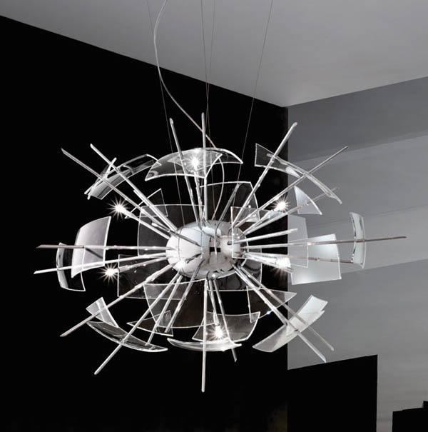 Zabriskie Point, exploding glass effect chandelier, designed by Italian Denis Santachiara.