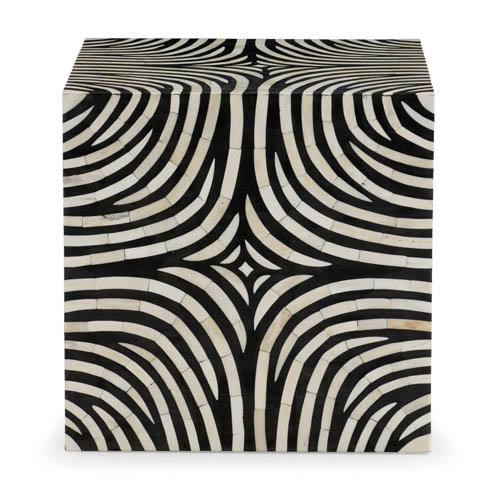 Bernhardt Zebra Cube, price upon request Bring style and excitement to your current ambience with this black-and-white zebra striped cube. At Paramount Furniture, 604 273 0155 paramountfurniture.ca