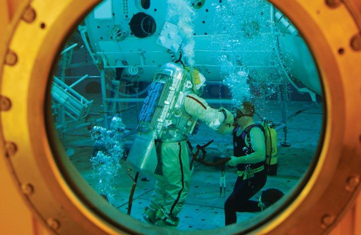 Training in simulated zero-gravity.
