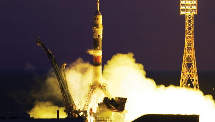 Space tourists lift off in a Soyuz, a Russian spacecraft.