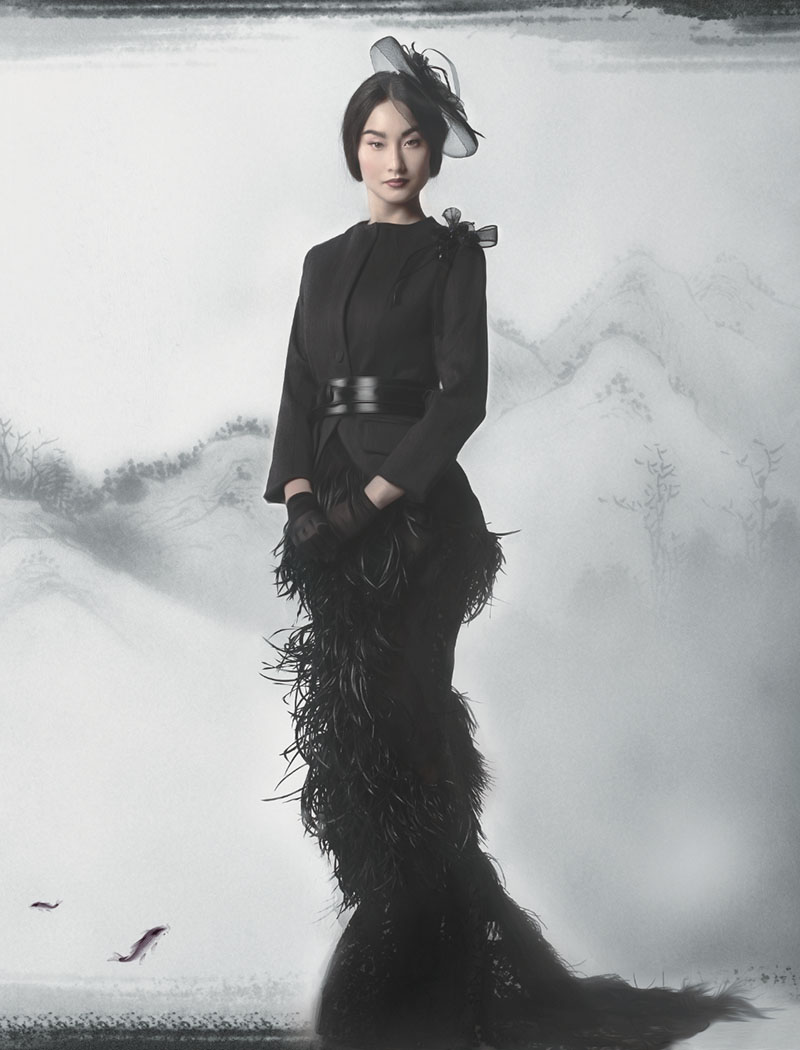 Pre-treated ostrich feather skirt ($3,200) and wool jacket with tulle flower pin ($900) by Helmer Couture and Atelie