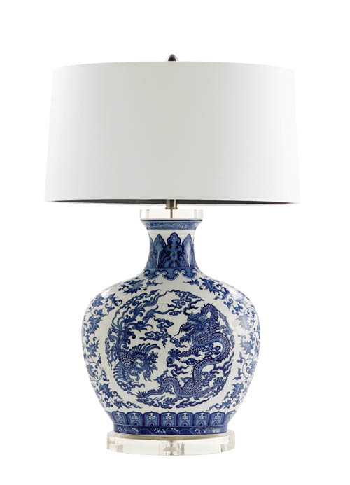 Decorium Dragon Table lamp, $799 Traditional urn-shaped table lamp in blue-white porcelain, with soaring dragon motif and chic white silk shade adds a hint of the Orient to the setting. At Decorium, 800 232 2267 decorium.com