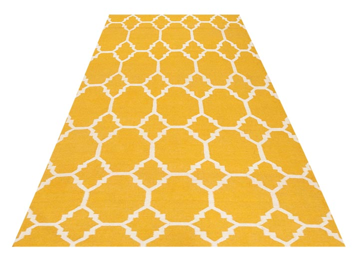 3.Decorium Yellow and Cream Accent Rug, $499 A rug with a classic yellow and cream pattern is warm and luxurious, especially when it is 100% wool. At Decorium, 800 232 2267 decorium.com