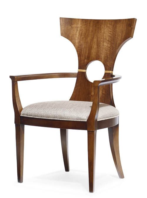 6.Century Furniture Espo Dining Arm Chair Imitating traditional Chinese chairs with a hollow on the back, these create a rich visual effect in any setting. At Paramount Furniture, 604 273 0155 paramountfurniture.ca