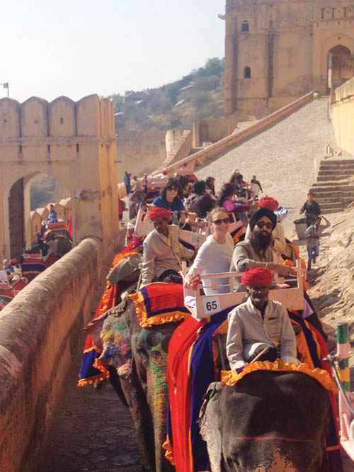 an unforgettable ride atop decorated elephants in Jaipur.