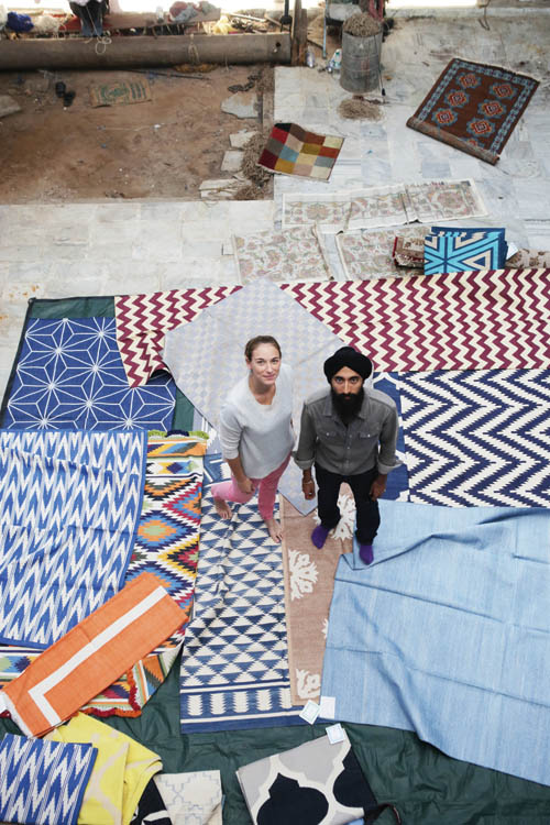at a carpet making studio in Jaipur, customizing hand woven rugs and floor pillows exclusively for H Project.