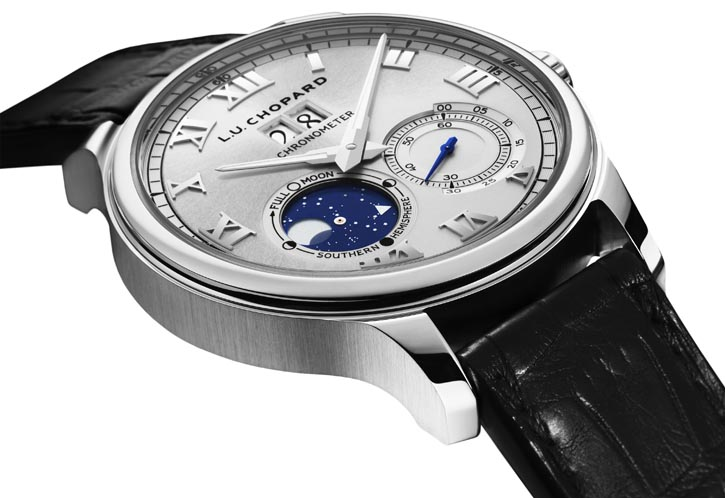 Chopard L.U.C Collection Lunar Big Date Self-winding mechanical movement L.U.C 96.20-L is 5.25mm thick with date display and small second's indication. The moon phase complication errs just one day every 122 years. Moon phases shown for both Northern and Southern hemispheres. chopard.com, At Lugaro Jewellers, 604 925 2043