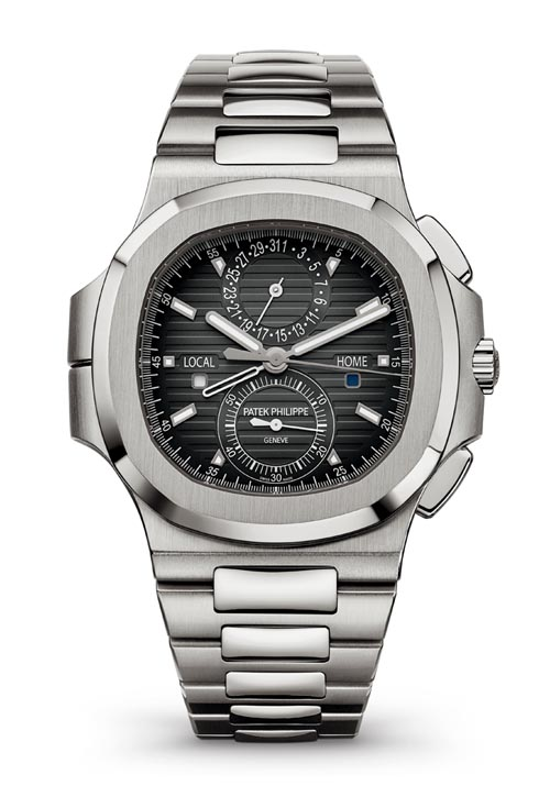 Patek Philippe Nautilus Travel Time Chronograph Ref. 5990/1A New complication and cult-status stainless steel design. 60-minute chronograph. Local and home time zone display. Local and home day/night indicators. Local date handwound. Water resistant to 120 m. patek.com, At Brinkhaus Jewellers, 604 689 7055