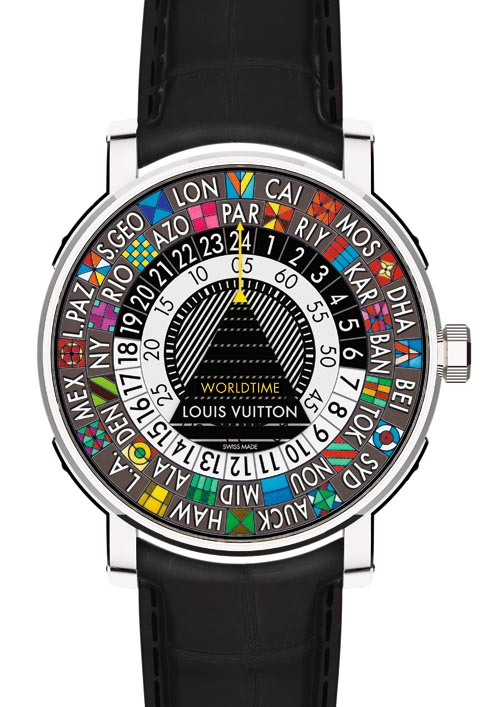 Louis Vuitton Escale Worldtime Travel Watch A hand-painted, colorful take on classic travel watches. 12 o'clock yellow arrow sets local time. World-time read by lining up other cities with corresponding hours on 24-hour ring around dial's outer perimeter. louisvuitton.com, 604 696 9404