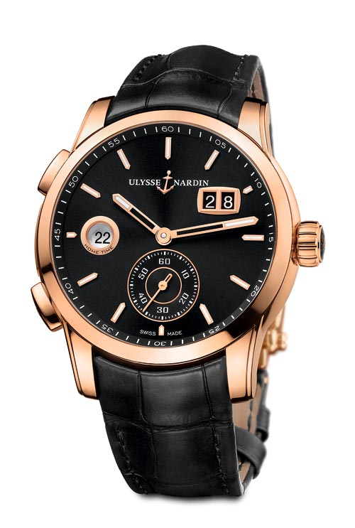 Ulysse Nardin Dual Time Manufacture Forward and backward-adjusting second time zone and date. Hours, minutes, oversized small seconds at 6:00.Water resistant to 39m. 49 jewels. Alligator strap. 18 ct rose gold case. ulysse-nardin.com, At Lugaro, 604 430 2040