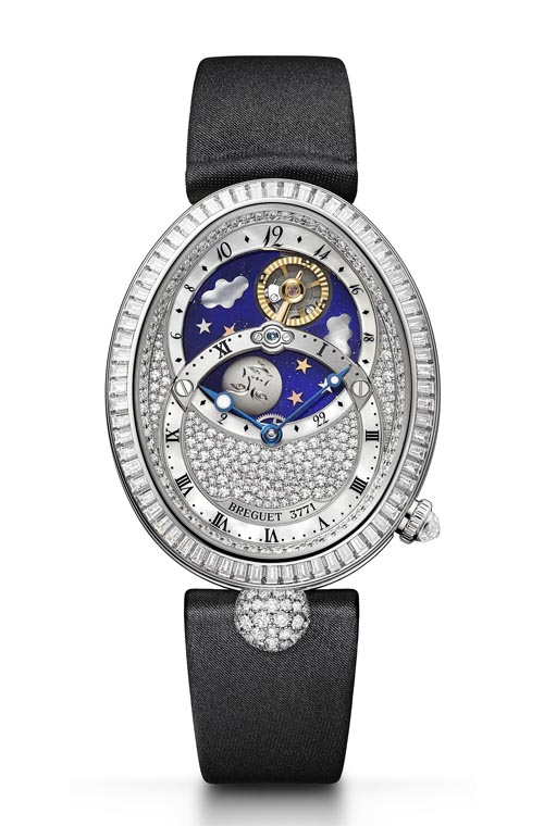 Breguet Reine De Naples Collection 8999BB/8D/874 DD0D Day and night indicator in upper half, hours and minutes below. The sun, a Breguet balance-wheel, and a titanium moon, rotate in 24 hours in the lapis lazuli sky among mother-of-pearl clouds. 412 diamonds. Self-winding movement. breguet.com, At Montecristo Jewellers, 604 263 3611