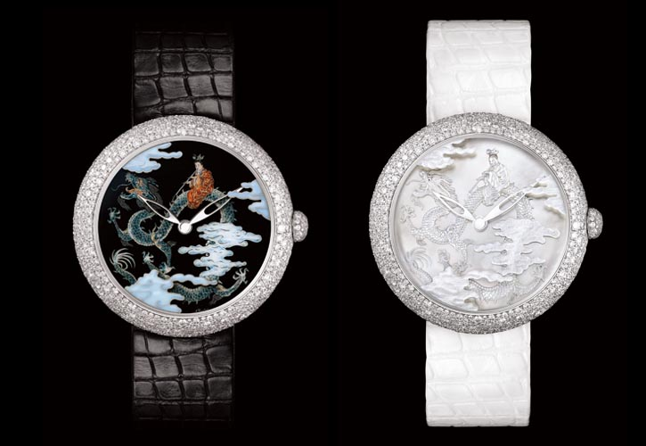 """Chanel Mademoiselle Privé Watch Mademoiselle Privé Coromandel Dial Set """"Grand Feu"""" Enamel and Sculpted Mother of Pearl. Two watches, inspired by Chinese coromandel screens, are sold as a pair, each with 18 ct white gold case with more than 500 snow-set diamonds. Colourful """"Geneva technique"""" enameling on one, the other, sculpted mother-of-pearl under sapphire crystal. chanel.com, 604 682 0522"""