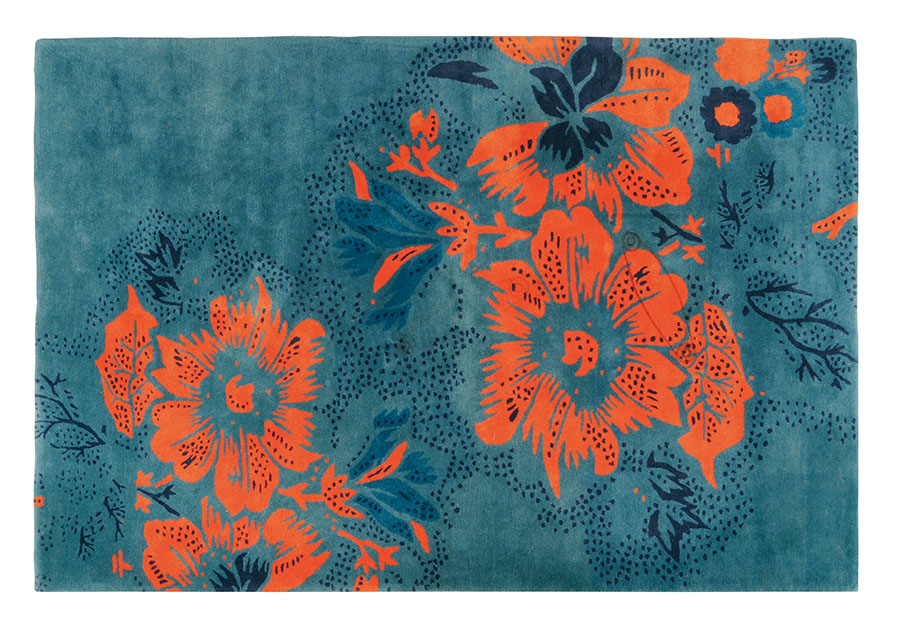 Roche Bobois Tropical Rug, Price upon request Dress up your floors in a plush carpet that blends orange and teal in a sumptuous floral design. At Roche Bobois, (604) 633-5005 roche-bobois.com