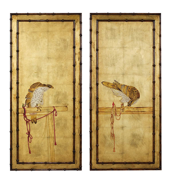 Theodore Alexander A Set of Two Paintings, Price upon request Falcons perch amidst gilt backgrounds framed by bamboo in these two Japanese paintings, circa 1900. At Jordans Interiors, (604) 733-1174, jordans.ca
