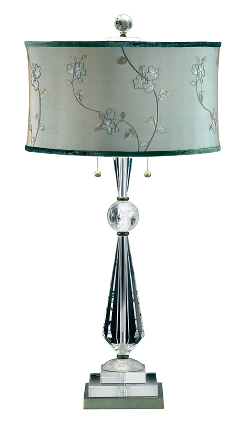 Schonbek Deco Lamps, $1,815 Crystal base lamps are a feminine staple, especially when topped with a luxe velvet trim shade and vine embroidery. At The Lighting Warehouse, (604) 270- 3339 thelightingwarehouse.com