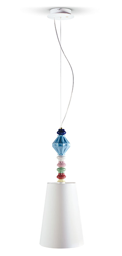 Pendant Lamp I: Lladró's new multicolour porcelain pendant lamp.