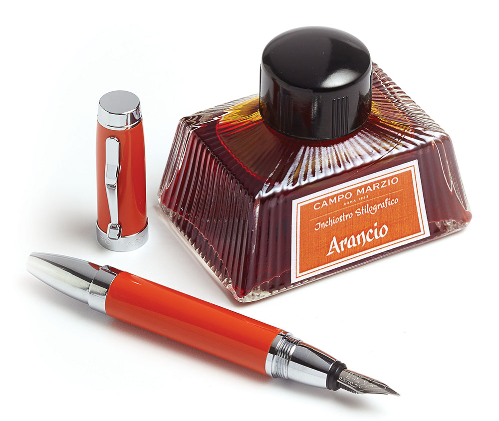 Not only do Campo Marzio's inks come in vibrant colours (orange is Di Giorgio's favourite), but some come scented.