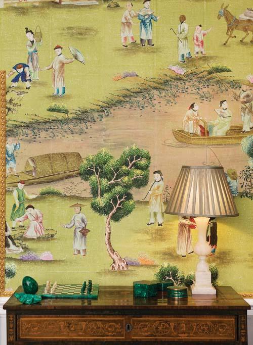 Wallpaper: Hand-painted Hampton Court on Vivid Olive India Tea Paper; Kimberley Hall, Norfolk