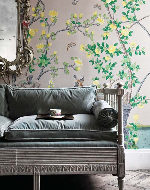 Wallpaper: Hand-painted Jardinieres Citrus Trees on Custom Silver Metallic Xuan Paper; Photography by Marc and Sunna Van Praag