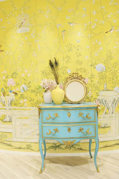 Wallpaper: Hand-painted Temple Newsam on Custom Yellow Painted Silk; Chesty, Japan