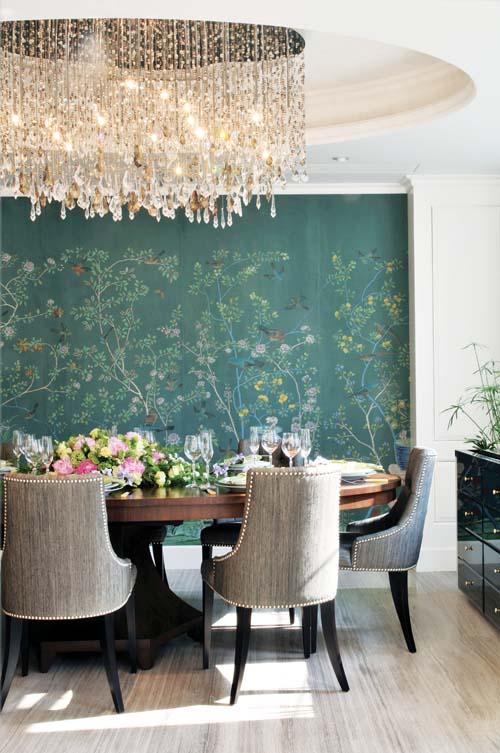 Wallpaper: Hand-painted Jardinieres Citrus Trees on Custom Blue Green Williamsburg; Interiors by Di'Zai'n, Hong Kong