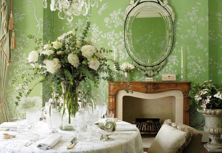 Wallpaper: Hand-painted Askew on Apple Green Williamsburg; Design by Alison Henry