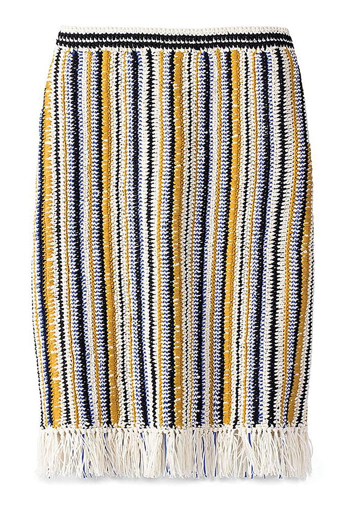 Tory Burch Crochet and Fringe Skirt
