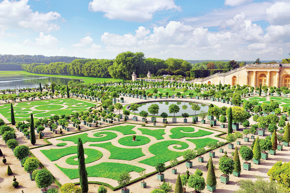 The gardens were planted in a classic French parterre style.