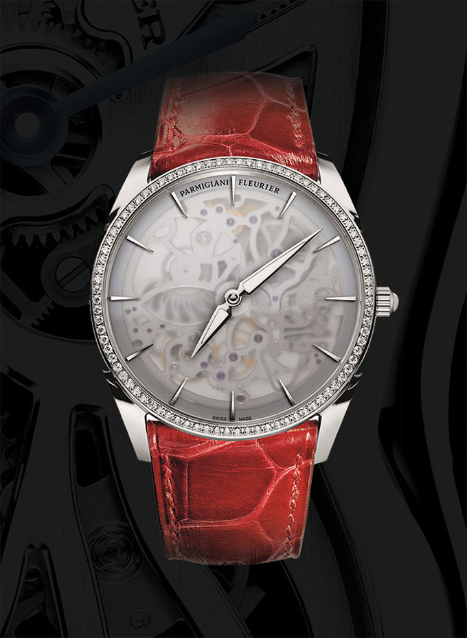 Parmigiani Tonda 1950 Squelette Parmigiani Tonda's 1950 skeleton watch launched this year, boasting a hand-bevelled main plate and hand-drawn strokes decoration. 2.6 mm thick, 18K white gold, red alligator bracelet and strap. Power reserve: 42 hours. Water resistance: 30 m. 144 components, 84 diamonds. parmigiani.com, at Palladio, (604) 685-3885