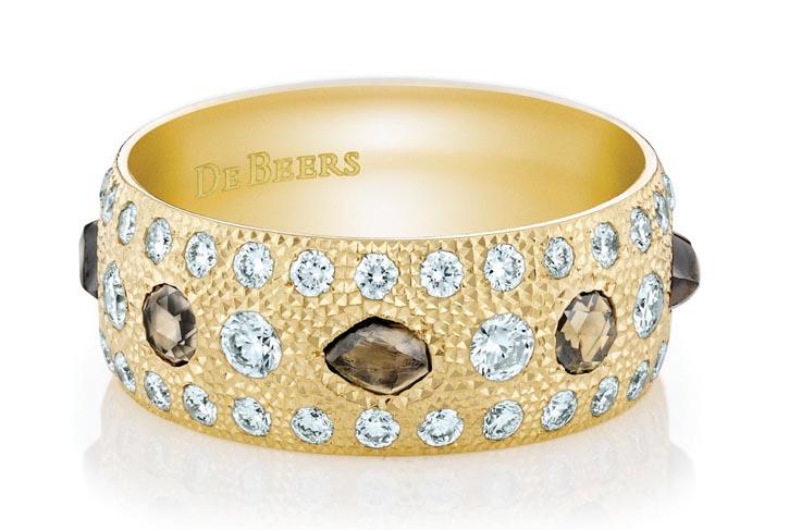 De Beers yellow gold talisman band,$21,800 debeers.com